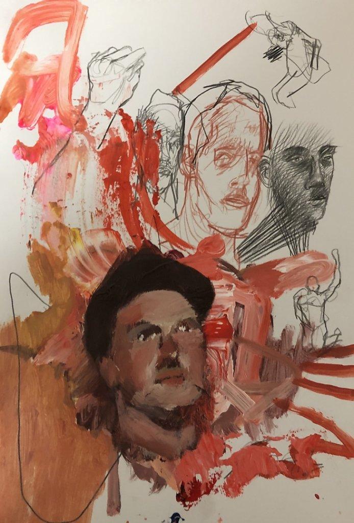o.T., Acryl, Rötel und Grafit auf Papier, 2019